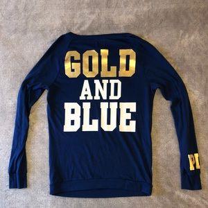 VS Pink WVU Gold & Blue Long Sleeve Tee